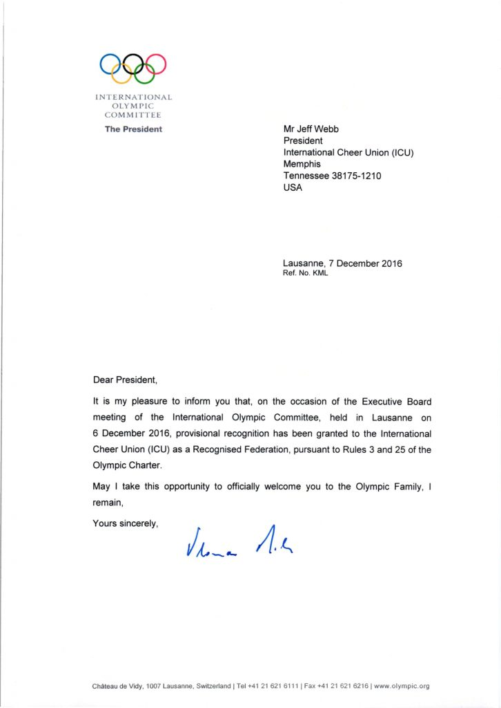 2016.12.06 ICU President IOC Recognition